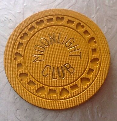 1930's MOONLIGHT CLUB CHICAGO ILLINOIS ILLEGAL YELLOW GAMBLING CHIP SPEAKEASY