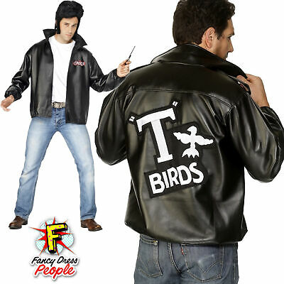 Mens 50s Official Grease T-Bird Jacket Danny T Bird Mens Fancy Dress Costume