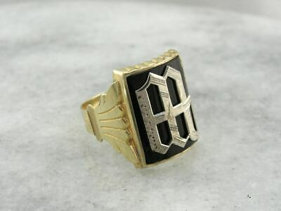 Wesley or Wyclef: Antique Gold Ring with Onyx Signet W