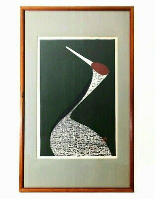 Kaoru Kawano (Japan 1916-1965) Modernist Signed Color Woodblock Of Crane, Framed