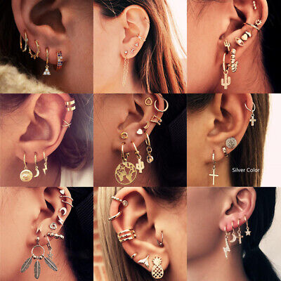 Sweet Punk Long Chain Tassel Dangle Ear Cuff Wrap Women Ear Clip Earrings Set
