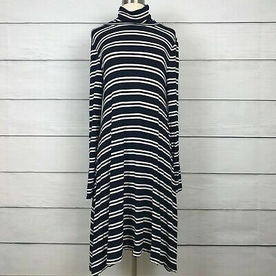 a37cedebe251 Anthropologie Maeve Navy Blue Dress Size L Striped Turtle Neck Stretch Swing