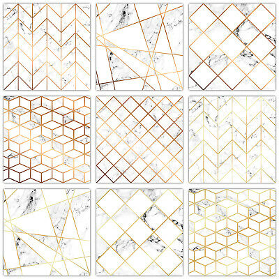 Modern Tile Stickers Mosaic White Marble With Gold or Copper Effect Detail -T22