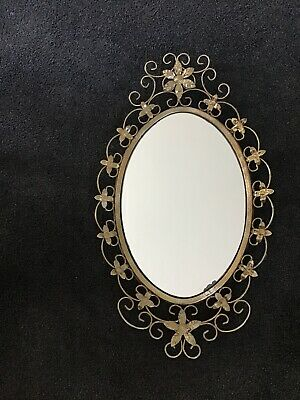 Vintage Wall Mirror Ornate Metal Oval Gold Retro 1950s Floral