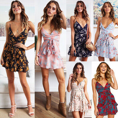 Sexy V Neck Summer Boho Strappy Mini Dress Evening Party Floral Belted Sundress