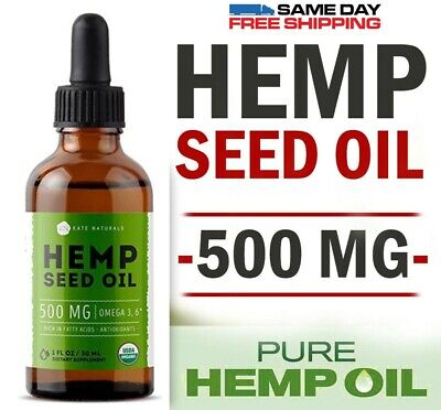Organic Hemp Seed Oil Drops 500mg Anxiety Stress Pain Relief Sleep Aid