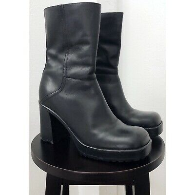 658d30fc906 VINTAGE 90S STEVE Madden Chunky Leather Lizie Boot, Size 9