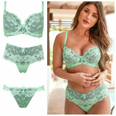 Pour Moi Amour Mint/Silver Underwired Non Padded Bra, Short or Brazilian Brief