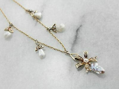 Art Nouveau Natural Pearl Bow Motif Drop Necklace, Amazing Antique Bridal Neckla