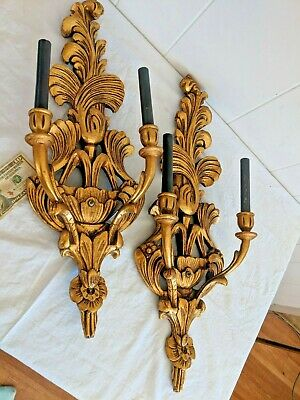 Gorgeous Pair of Large Antique Hand Carved Vintage Gilt Wood Italian Sconces
