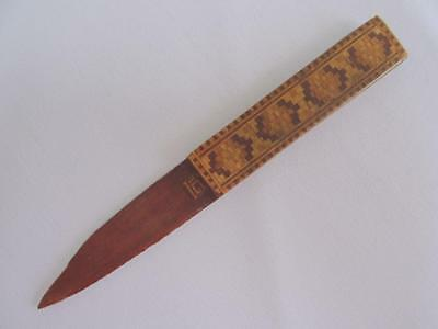 Antique  Paper Knife Page Turner Victorian Inlaid Wood Treen Geometric c1900