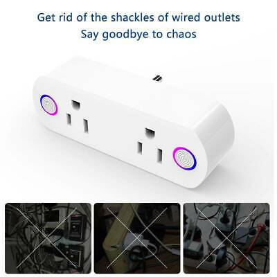 1X Smart Plug WiFi Socket 2 Outlet Remote Control Switch Timer Alexa Google Home