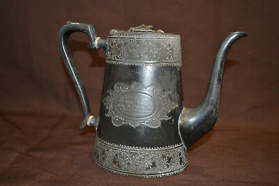Antique Victorian  British Army Regimental Military Silver Plated Coffee Pot