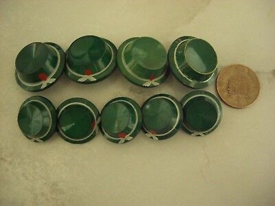 Vintage set of 9 hand painted green buttons resembling hats