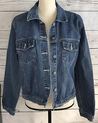 eb68eed58c Faded Glory Womens Large 12-14 Blue Denim Button Jacket Adjustable Waist  Length