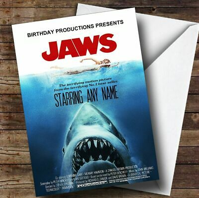 Spoof Jaws Shark Movie Poster Funny Personalized Birthday Card