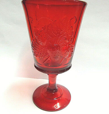 ruby red glass goblet strawberries/currants by wright co 6.50 in tall