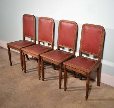 *Set of 4 Vintage French Oak and Vinyl Chairs