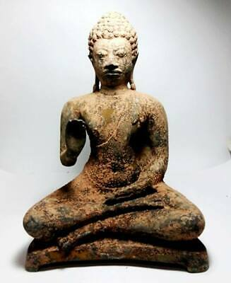 Antique Bronze  Meditation Tawaravadee Buddha Statues  Temple Thai Amulet Wealth