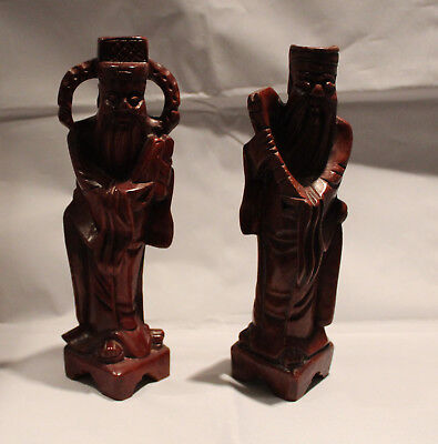 "Pair of Vintage Wood Carved Asian Figurine Bearded Men 9"" Tall"