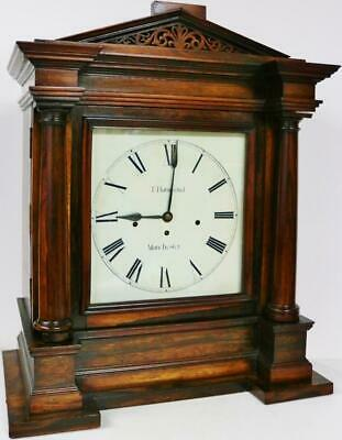 Rosewood Antique English Architectural Triple Fusee Musical 8 Bell Bracket Clock