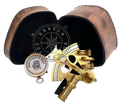 Nautical Gift Set Antique Ship Sextant & Marine Brass Compass With Leather Case