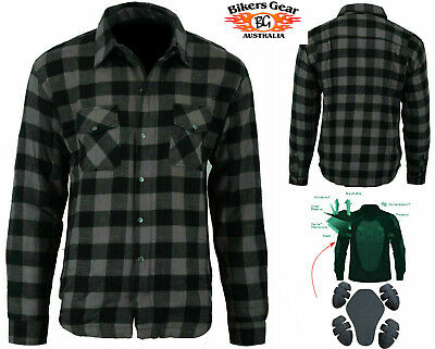 Australian Bikers Gear Motorcycle Flannel Shirt lined with Kevlar N CE armoured