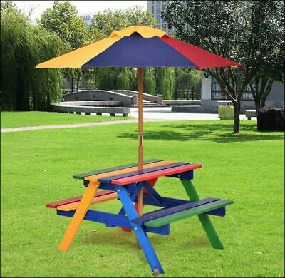 Kids Patio Dining Set Table Bench Umbrella Children Boys Girls Picnic Wood Color & KIDS PATIO DINING Set Table Bench Umbrella Children Boys Girls ...