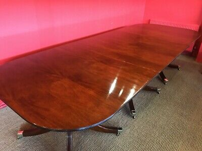 10.7ft TRIPLE PED GEORGE III STYLE BRAZILIAN MAHOGANY TABLE FRENCH POLISHED