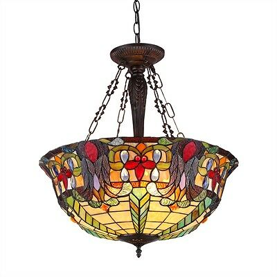 "Victorian 22"" Shade Reverse Hanging Ceiling Pendant Fixture Stained Glass"