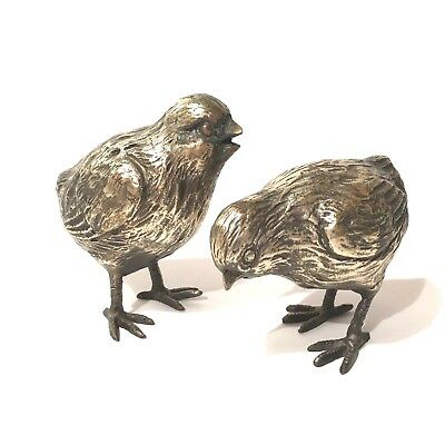 "Antique Vintage Pair  Nickel Plated Pewter Chicks Fine Details Unsigned 3 -4"" T"