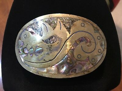 Vintage Brass Silver Albalone Alpaca Dragon Belt Buckle