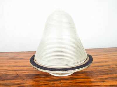 Vintage Industrial Glass Light Shade 1939 Lamp Ribbed & Bell Shaped Holophane