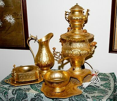 Persian Samovar 7 Piece Electric Tea Set Gold Plated Middle Eastern...WOW!!!