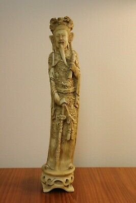 """Vintage Chinese Resin Souvenir Statue Hand Carved? Samurai MUST SEE 16"""""""