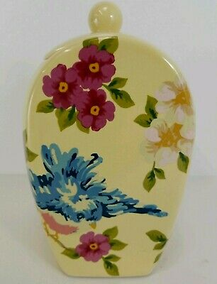 Rosie B Farmer Cookie Jar Ceramic Songbird Garden Yellow Floral Bird