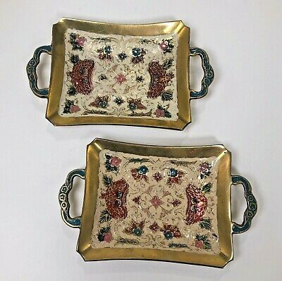 Vintage Brass Cauvery Indian Ornate Trays with Etched Enamel Decor ~Trinket Dish