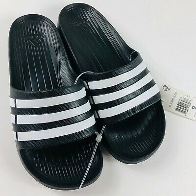 e52bce59c NEW ADIDAS DURAMO G15890 BLACK WHITE SLIDES FLIP FLOPS SHOWER SPORT Size 9