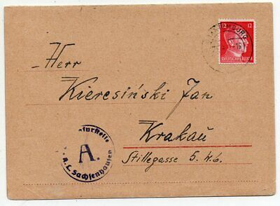 1942 Germany To Poland Sachsenhausen Concentration Camp Cover !!