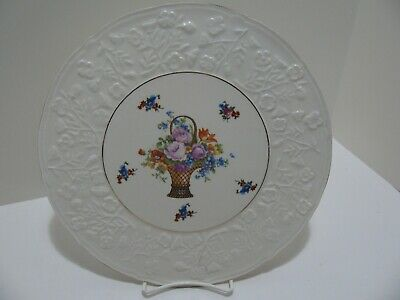 E & R Erphila Embossed Floral Cake Plate - Made in Czechoslovakia