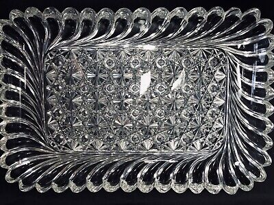 Rare Antique Abp Super Heavy Large Hawkes Russian Pillars Pattern Cut Glass Tray