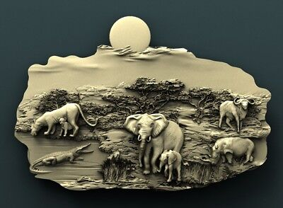 3d STL Model Relief for CNC Router  _ (0262) Africa