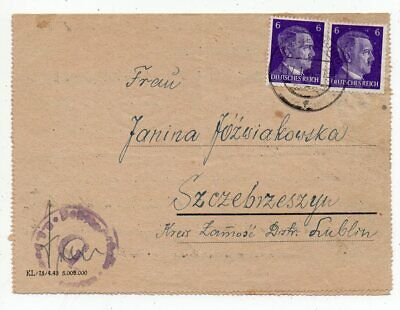 1944 Germany To Poland Sachsenhausen Concentration Camp Cover !!