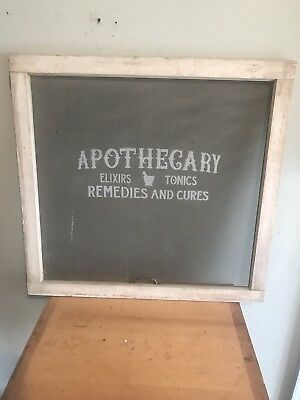 Vintage Wood Screen Window Architectural Salvage Apothecary Advertising