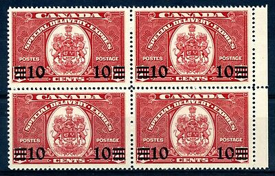 Weeda Canada E9 F/VF MNH block of 4, 10c on 20c dark carmine CV $58.50