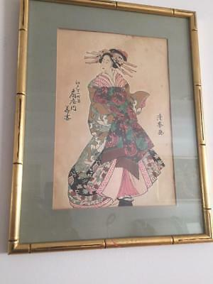 antique Japanese PAIR OF Woodblock print.FRAMED bargain!!!