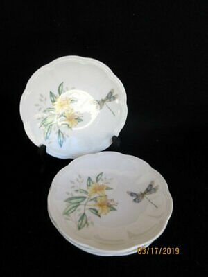 Lenox Butterfly Meadow 4 Party Dessert Plates Dragonfly Scalloped Floral Butterf