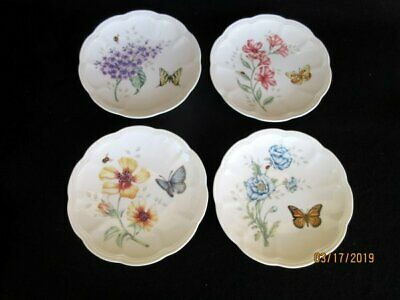 Lenox Butterfly Meadow 4 Party Dessert Plates Different Scalloped Floral Butterf