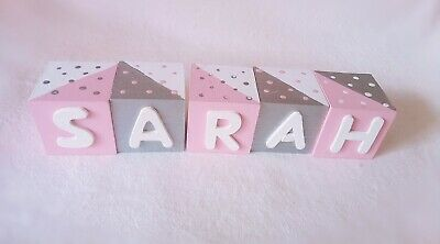 Personalised baby name decor blocks