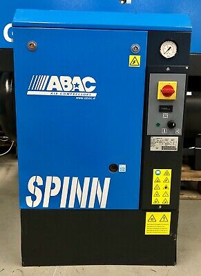 ABAC Spinn 7.510 Floor Mounted Rotary Screw Compressor, 7.5Kw, 32.5Cfm! Low Hrs!
